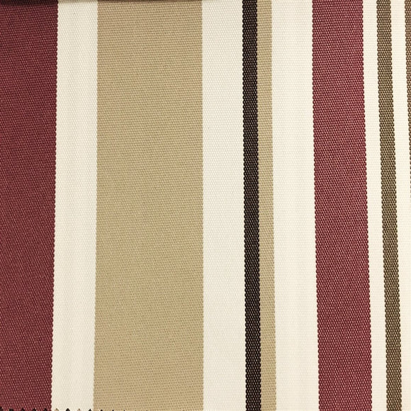 Burgundy Khaki Multi Striped Oak 100% Waterproof Outdoor Canvas Patio Fabric - Fashion Fabrics Los Angeles
