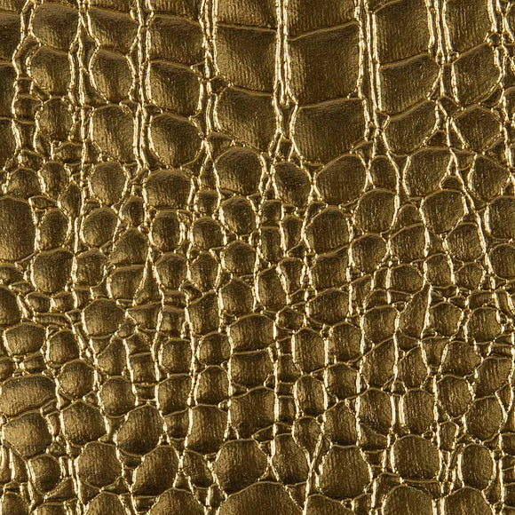 Gold Crocodile Vinyl Fabric - Fashion Fabrics Los Angeles