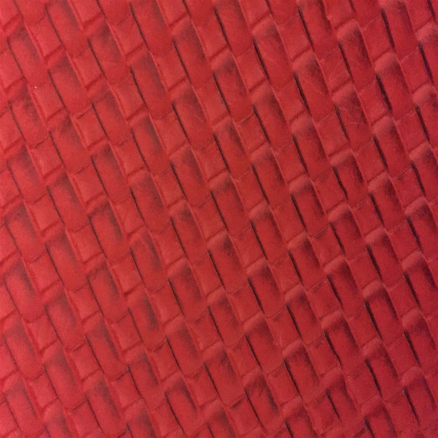 Red Basket Weave Vinyl - Fashion Fabrics Los Angeles