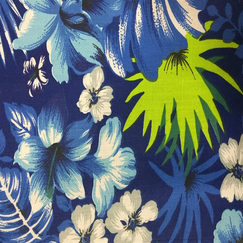 Blue Hawaiian Print Poly Cotton Fabric - Fashion Fabrics Los Angeles