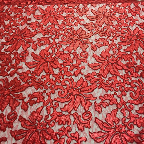 Red Beyonce Floral Sequined Lace Fabric