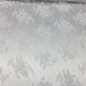 White Oswald Embroidered Lace Fabric