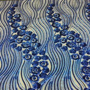 Royal Blue Jennifer Rose Floral Flame Sequin Lace Fabric - Fashion Fabrics Los Angeles