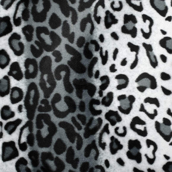 Gray Leopard Velboa Faux Fur - Fashion Fabrics Los Angeles