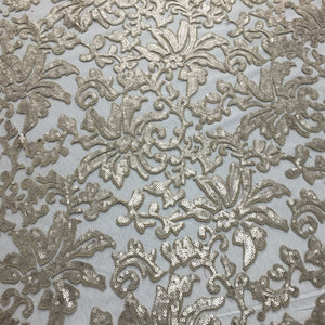Stone Beige Beyonce Floral Sequined Lace Fabric