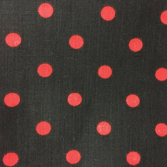 Black Red Small Polka Dot Print Poly Cotton Fabric - Fashion Fabrics Los Angeles