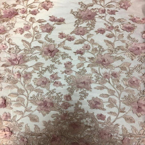 Dusty Rose 3D Embroidered Satin Floral Pearl Lace Fabric - Fashion Fabrics Los Angeles
