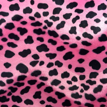Pink Velboa Faux Fur Dalmatian Fabric - Fashion Fabrics Los Angeles
