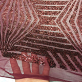 Burgundy Bombshell Sequin Lace Fabric - Fashion Fabrics Los Angeles