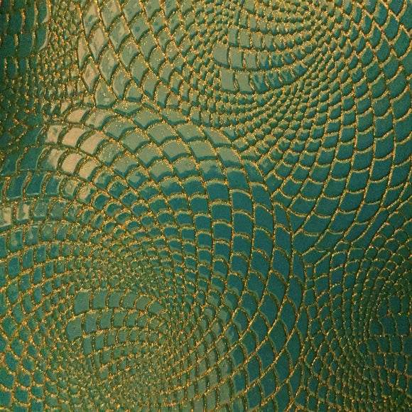 Gold / Turquoise 2 - Tone Galaxy Swirl Vinyl Fabric - Fashion Fabrics Los Angeles