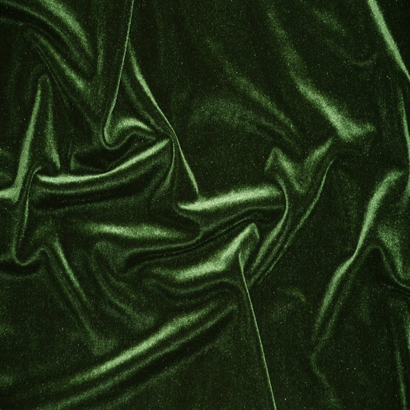 Stretch Velvet Spandex Fabric - Olive Green