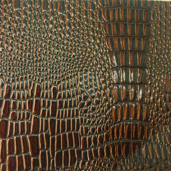 VINYL PLEATHER EMBOSSED SHINY AMAZON CROCODILE FABRIC- Brown - Fashion Fabrics Los Angeles