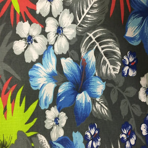 Gray Hawaiian Print Poly Cotton Fabric - Fashion Fabrics Los Angeles