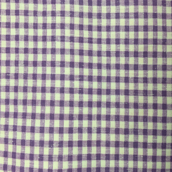 Purple White Mini Checkered Poly Cotton Fabric