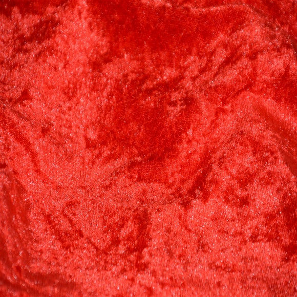 Red Panne Crush Stretch Velvet Fabric