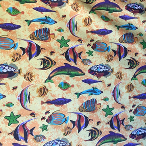 Yellow Aquarium Fish Tank Print Poly Cotton Fabric
