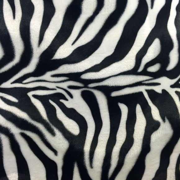 White Big Zebra Velboa Faux Fur Fabric - Fashion Fabrics Los Angeles