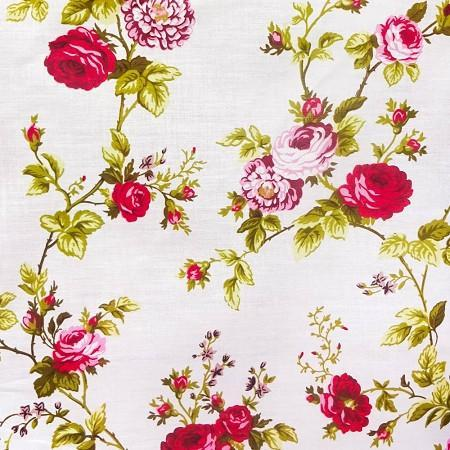 White Red Rose Floral Print Poly Cotton Fabric - Fashion Fabrics Los Angeles