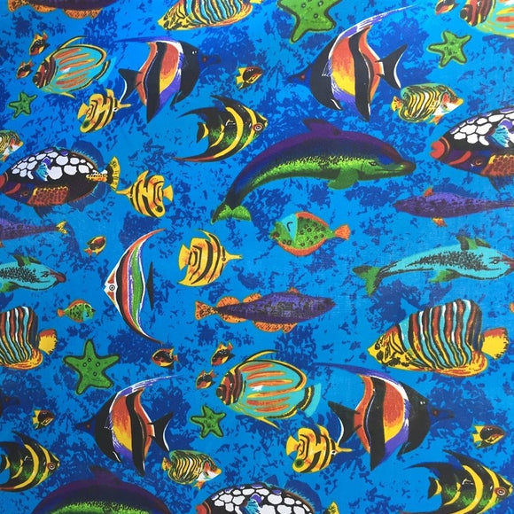 Blue Aquarium Fish Tank Print Poly Cotton Fabric - Fashion Fabrics Los Angeles