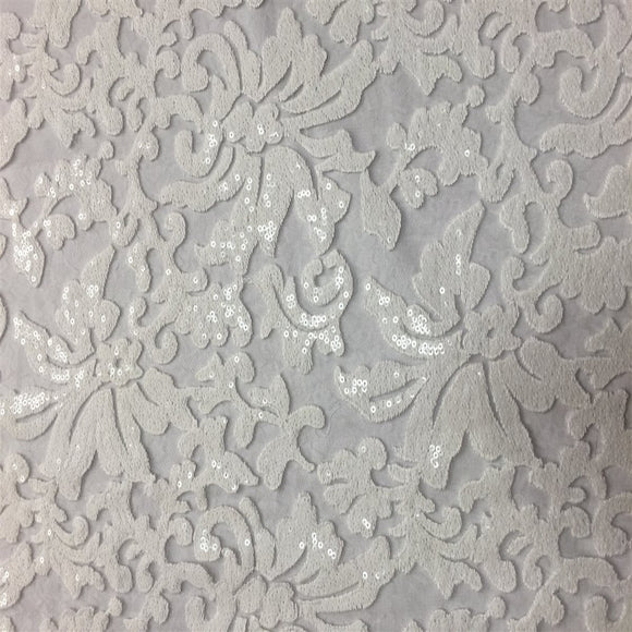 White Beyonce Sequence Lace Fabric - Fashion Fabrics Los Angeles