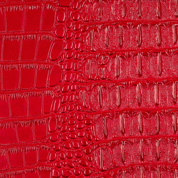 Red Metallic Gator Vinyl Fabric