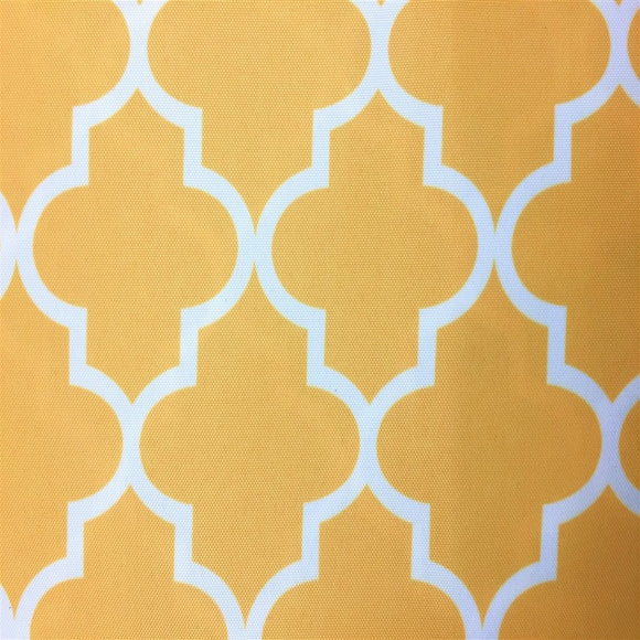 Yellow White Moroccan Print Indoor Outdoor Fabric