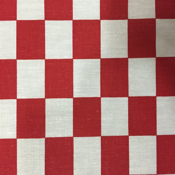 Red White Checkered Poly Cotton Fabric