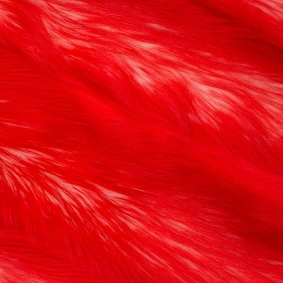 Red | White Luxury Faux Fur Shag Fabric