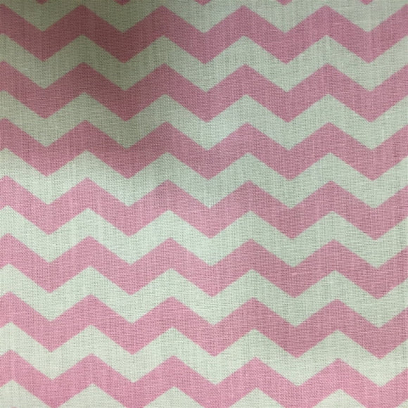Light Pink White Half Inch Chevron Poly Cotton Fabric - Fashion Fabrics Los Angeles