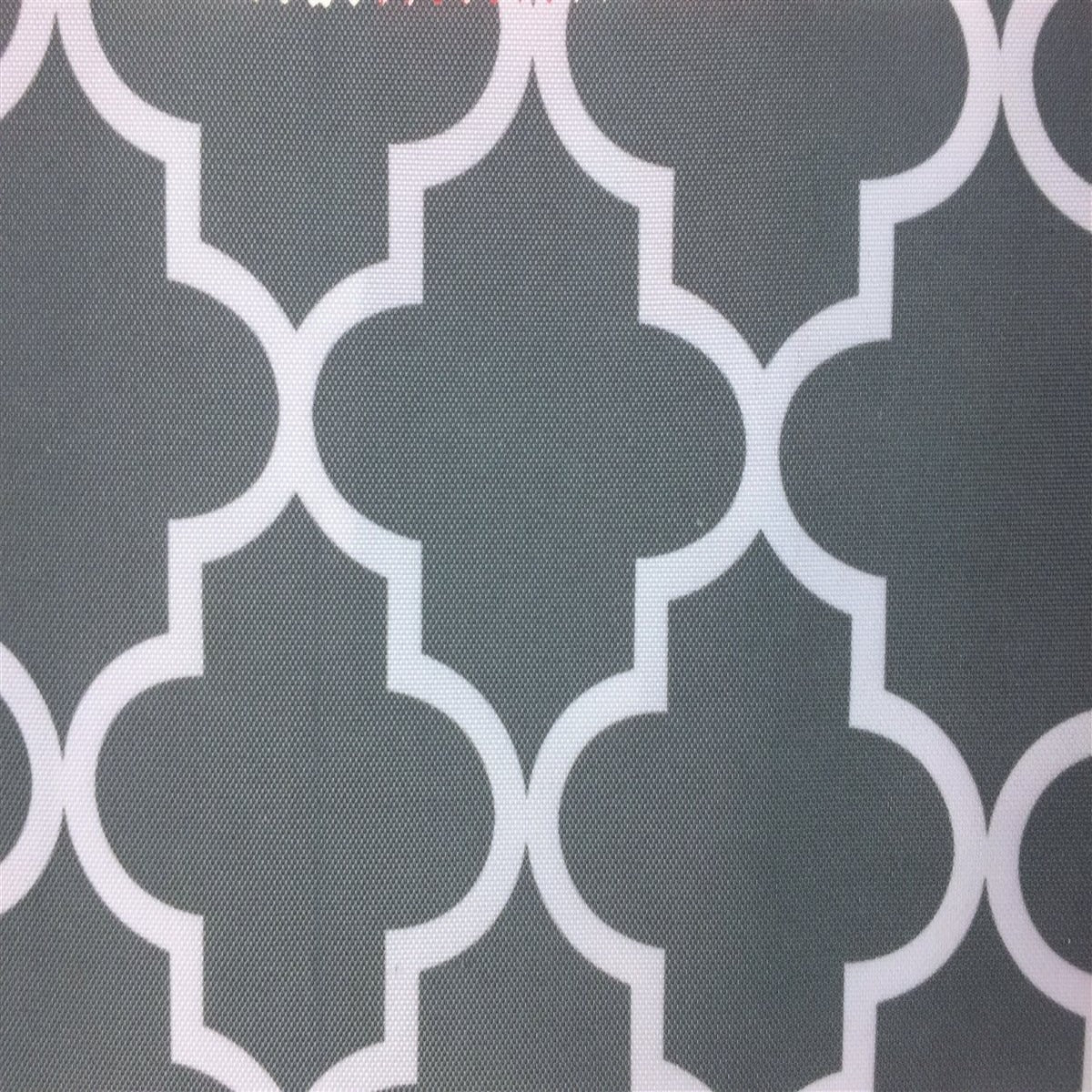 Gray White Moroccan Print Indoor Outdoor Fabric