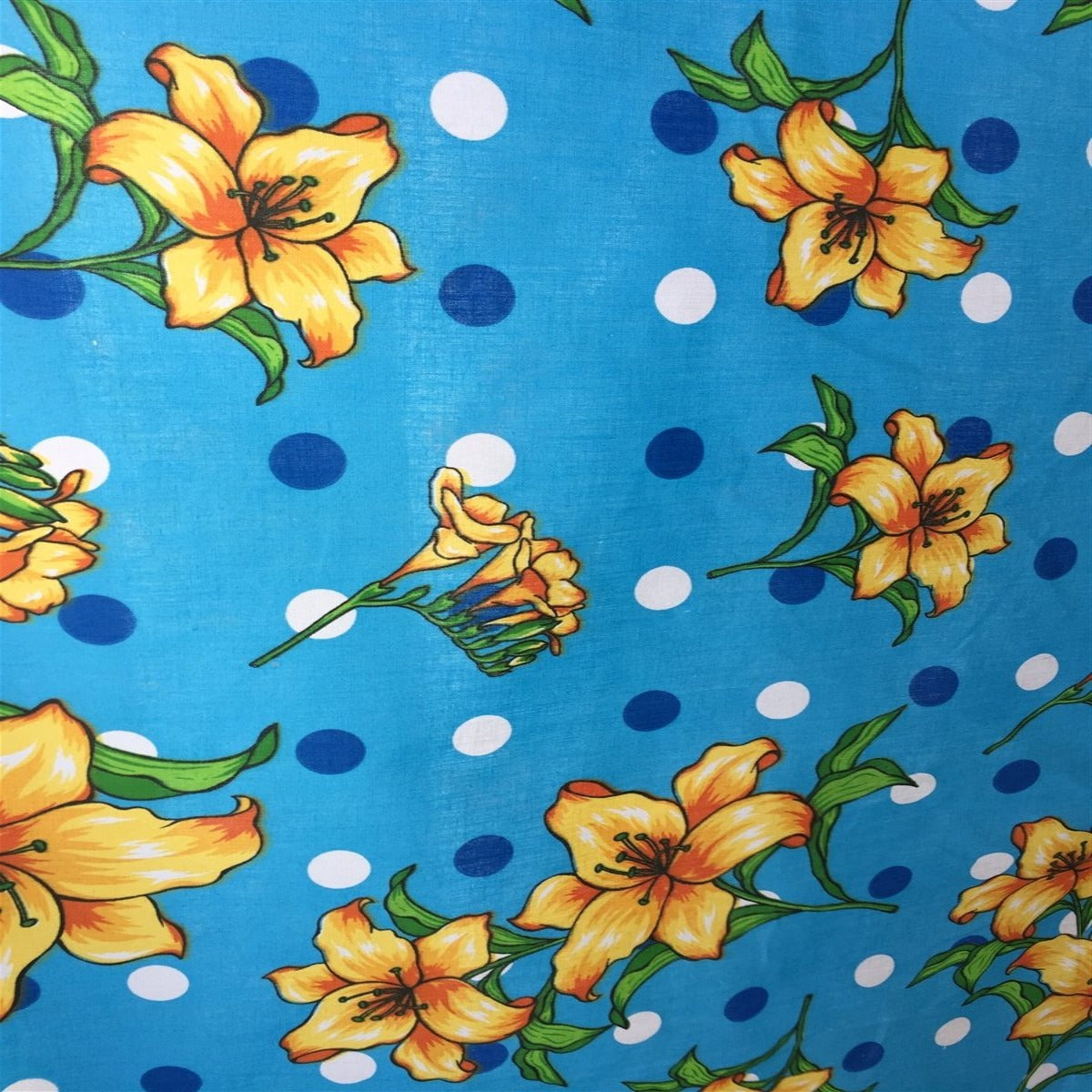 Blue Lily Flowers Poly Cotton Fabric