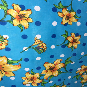 Blue Lily Flowers Poly Cotton Fabric - Fashion Fabrics Los Angeles