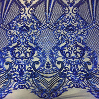 Sold By The Yard Navy Blue Chantal Deluxe 4 Way Stretch Nylon Spandex Wedding Prom Formal Sequin Fabric