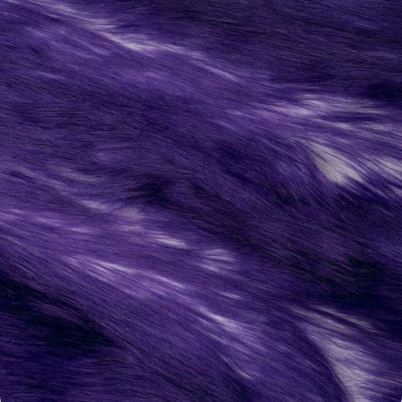 Dark Purple | White Luxury Faux Fur Shag Fabric - Fashion Fabrics Los Angeles