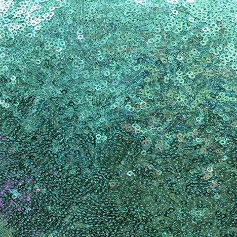 Mint Green Mini Disc All Over Sequin Nylon Mesh Fabric - Fashion Fabrics Los Angeles