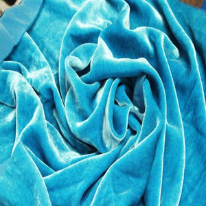 Turquoise Silk Velvet Fabric - Fashion Fabrics Los Angeles