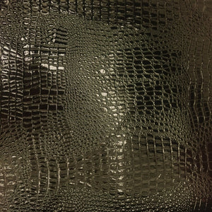 VINYL PLEATHER EMBOSSED SHINY AMAZON CROCODILE FABRIC- BLACK