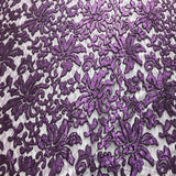 Purple Beyonce Floral Sequined Lace Fabric