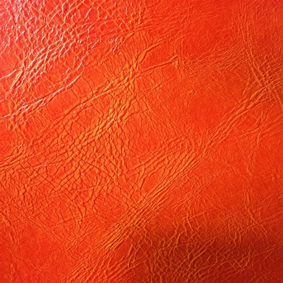 Orange Distressed Faux Leather Fabric - Fashion Fabrics Los Angeles