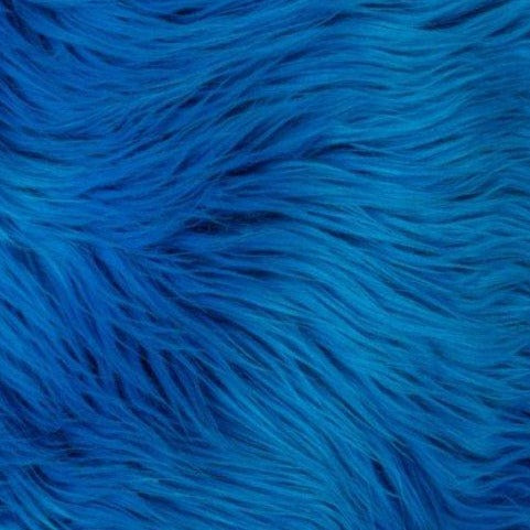 Royal Blue Mongolian Long Pile Faux Fur Fabric