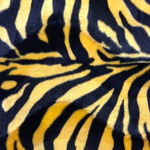 Yellow Big Zebra Velboa Faux Fur Fabric - Fashion Fabrics Los Angeles