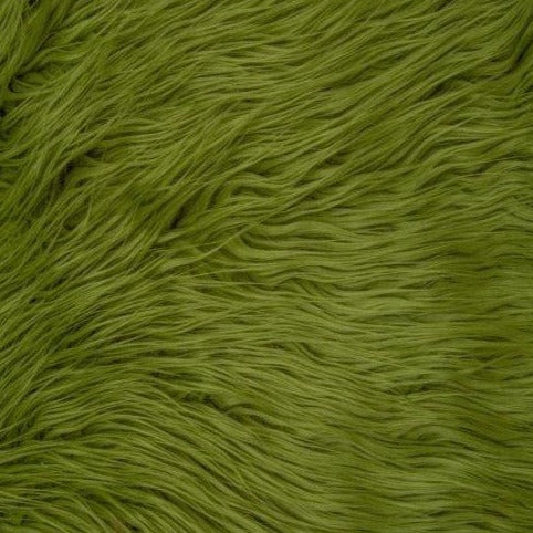 Olive Green Mongolian Long Pile Faux Fur Fabric