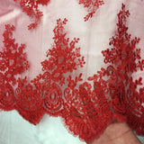 Red Oswald Embroidered Lace Fabric