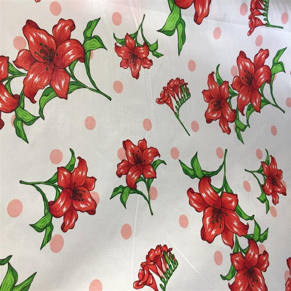 White Lily Flowers Poly Cotton Fabric - Fashion Fabrics Los Angeles