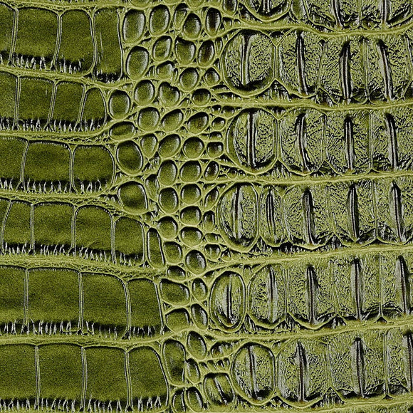 Green Metallic Gator Vinyl Fabric - Fashion Fabrics Los Angeles