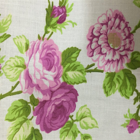 White Pink Rose Floral Print Poly Cotton Fabric