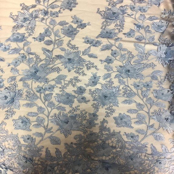 Baby Blue 3D Embroidered Satin Floral Pearl Lace Fabric - Fashion Fabrics Los Angeles