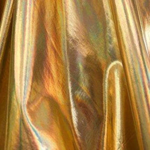 Gold Metallic Iridescent Foil Spandex Fabric - Fashion Fabrics Los Angeles