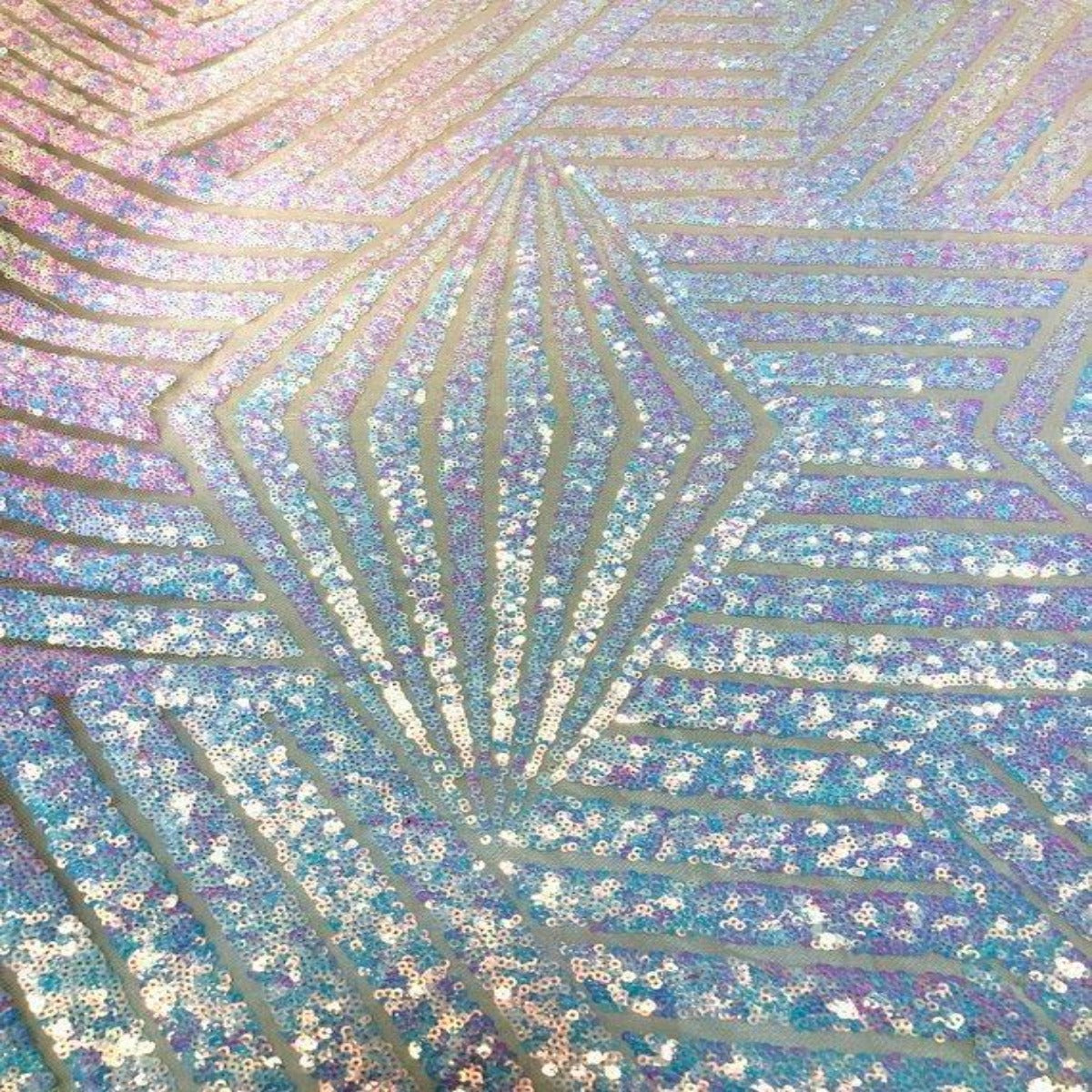 Pearl Iridescent Bombshell Sequins Lace Fabric - Fashion Fabrics Los Angeles
