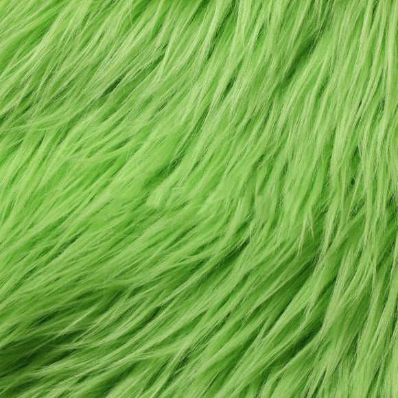Lime Green Luxury Long Pile Shaggy Faux Fur Fabric - Fashion Fabrics Los Angeles